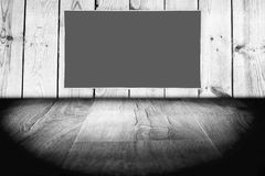 Black lcd tv screen. On a wooden background Royalty Free Stock Photography