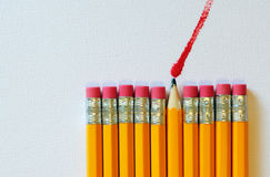 Black lead pencil painting red Stock Photo