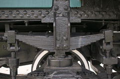 Black leaf spring of train Stock Photos