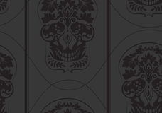 Black leafs skull damask pattern Royalty Free Stock Images