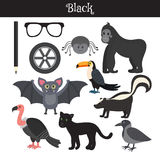 Black. Learn the color. Education set. Illustration of primary c Stock Photos