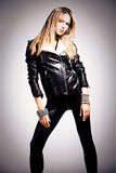 In black leather Stock Photos