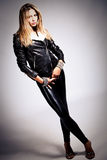 In black leather Stock Images