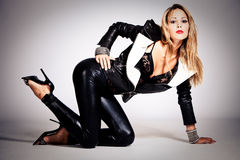 In black leather Stock Image
