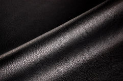 Black leather. Abstract background of creased black leather Stock Images