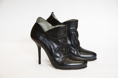 Black leather ankle boots Royalty Free Stock Image