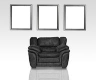 Black leather armchair Stock Photo