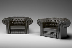 Black leather armchair 3d. Black leather armchair isolated over the white 3d Royalty Free Stock Photo