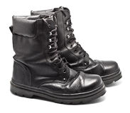 Black Leather Army Boots. Isolated on white Royalty Free Stock Photography