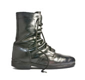 Black Leather Army Boots. The Black Leather Army Boots Royalty Free Stock Photo