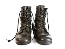 Black Leather Army Boots. On white background Royalty Free Stock Photography