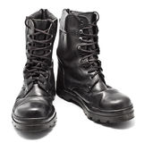 Black Leather Army Boots. Isolated on white Royalty Free Stock Image
