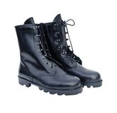 Black Leather Army Boots Stock Photography