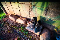 Black Leather Army Boots Royalty Free Stock Photo