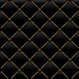 Black leather background. Vector illustration of black leather background with golden pattern Royalty Free Stock Photos