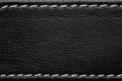 Black leather background. With white thread seam Royalty Free Stock Images