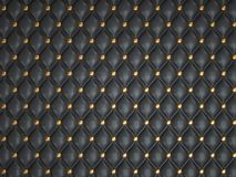 Black leather background with golden buttons. Useful as luxury pattern Stock Photo