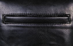 Black leather background with margins and pocket, rough pattern. Black leather background with margins and pocket Royalty Free Stock Photos