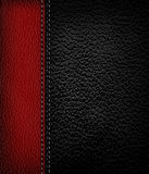 Black leather background with red leather strip. Royalty Free Stock Photography