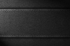 Black leather background. Or rough texture belt with seam Royalty Free Stock Image