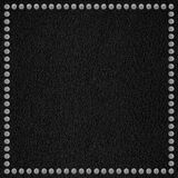 Black leather background. With silver rivet border or rough pattern texture Royalty Free Stock Photos