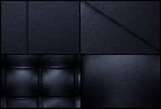 Black leather backgrounds - Bulk. 4 detailed black leather textures. 3 with stitches and 1 plain without royalty free stock photography