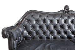 Black leather backrest. Close - up black leather backrest background Royalty Free Stock Photos