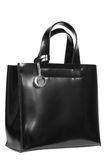 Black leather bag. On a white background Stock Photography