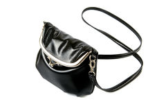 Black leather bag. Picture of a black leather shoulder bag with strap Stock Photo
