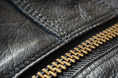 Black leather bag detail Royalty Free Stock Photos