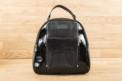 Black leather bag dual texture Royalty Free Stock Photo