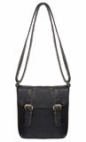 Black Leather Bag with two clasps Royalty Free Stock Photography