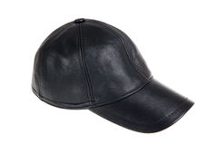 Black leather baseball hat on a white. Black leather baseball hat isolated on a white background Stock Image