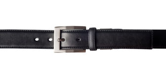 Black leather belt. With a rectangular buckle isolated on white background Royalty Free Stock Photos