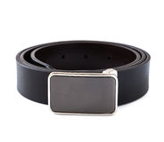 Black leather belt on white background Stock Photography
