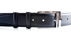 Black leather belt with buckle Stock Photos