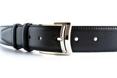 Black leather belt with buckle Stock Image