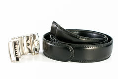 Black leather belt and buckle Royalty Free Stock Images