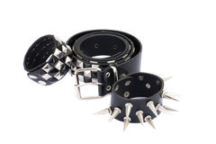 Black Leather Belt with Chrome Studs Royalty Free Stock Photos