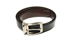Black Leather Belt. Leather belt of black color on white background stock photos