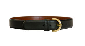 Black Leather Belt. An isolated black leather belt with gold buckle Stock Image