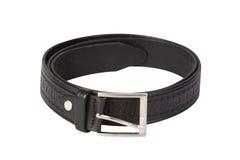 Black leather belt isolated on white Stock Photography