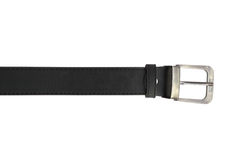 Black leather belt isolated on white background Stock Photos