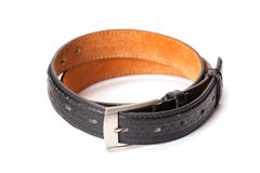 Black leather belt. Isolated on white background with path Stock Photos