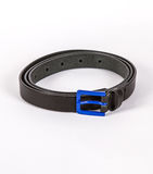 Black Leather belt for men and women with blue buckle on white. Black stylish Leather belt for men and women with blue buckle on white Stock Photography