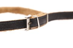 Black leather belt with a rectangular buckle. Stock Images