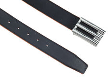 Black leather belt with silver buckle Royalty Free Stock Image
