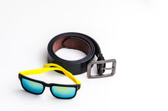 Black leather belt with sport glasses Stock Photo