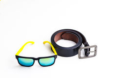 Black leather belt with sport glasses Royalty Free Stock Photos