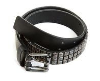 Black leather belt with steel buckle Stock Photo